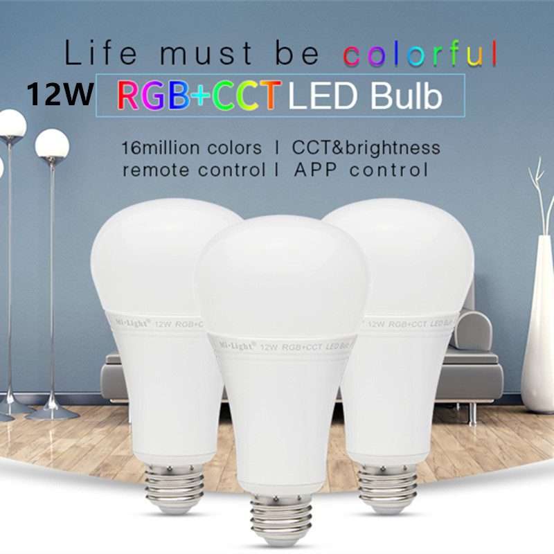Milight AC 85V - 265V E27 6W 8W 9W 12W RGB+CCT LED Bulb 2.4G Wireless RF WIFI Remote App Control Dimmable warm white Led Lamp