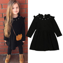 Nova chegada crianças meninas de malha manga longa preto vestido roupas 2018 novo inverno casual preto crianças vestidos