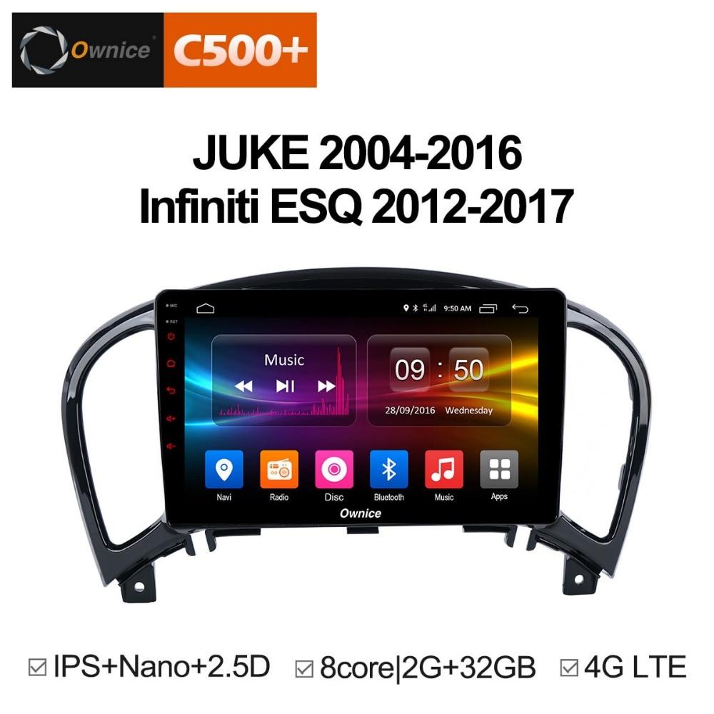 Ownice C500 + G10 Android 8.1 Octa core 2g RAM Voiture Lecteur DVD GPS Pour NISSAN JUKE 2004- 2016 voiture gps navigation radio audio système
