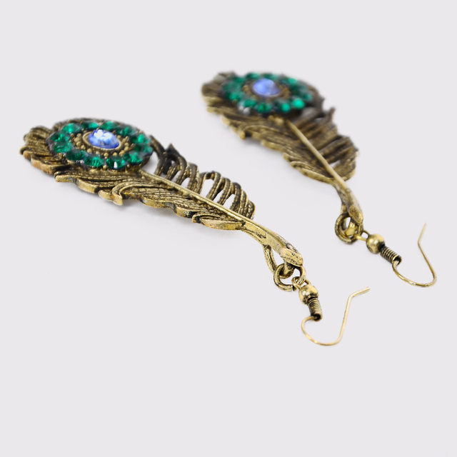 Crystal Gold Plated Peacock Feather Design Drop Earrings