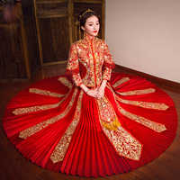 2018 Fashion Red Embroidery Cheongsam Long Qipao Chinese Traditional Wedding Dress Bride Traditions Robe Rouge Vestido Oriental