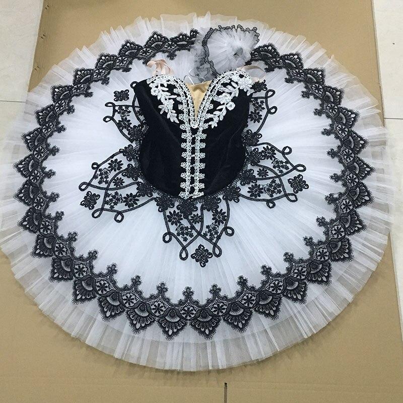 Tailor-made professional ballet tutu Girl & Women stage performance ballet costume ballerina dance tutu Black velvet white tulle