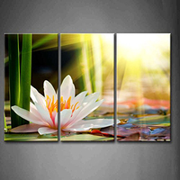Painting Canvas Home Decor Wall Art 3 Panel Flower White Lotus In In The Sun Poster
