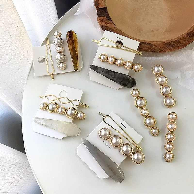 3pcs/set Korea Vintage Imitiation Pearl Marble Fashion Hair Clips Accessories Gold Metal Minimalist Geometric Irregular Hairpins