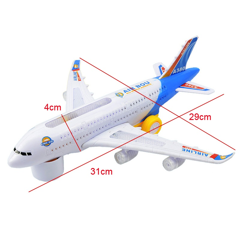 цена на A380 Plane Model Toys Light Music Universal Airbus Flashing Sound Electric Airplane Children Kids Toys Gifts Automatic Steering