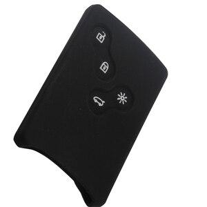 Image 3 - 4 כפתורי סיליקון גומי מפתח כיסוי מקרה מגן עבור רנו קליאו לוגן מגאן 2 3 Koleos סניק כרטיס Keychain רכב סטיילינג