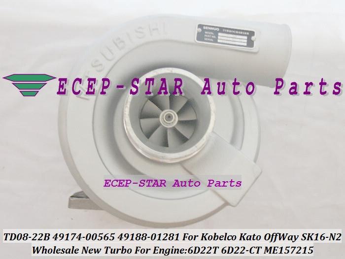TD08-22B 49174-00565 49174-00566 49188-01281 ME157215 Turbo Turbocharger For KOBELCO Kato Various OffWay SK16-N2 6D22T 6D22-CT