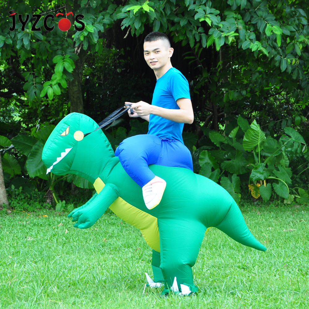 JYZCOS Inflatable Dinosaur Costumes Halloween Cosplay Costume Purim Party Mascot Costume for Adult Kid Carnival Christmas Props