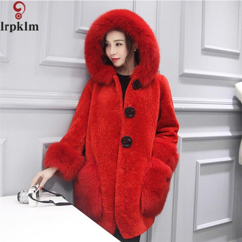 Capuchon Long Rouge Faux Fourrure À De Luxe Femmes Gris red Vison Manteau Gray Imitation Veste Lz226 qqgPT0wU