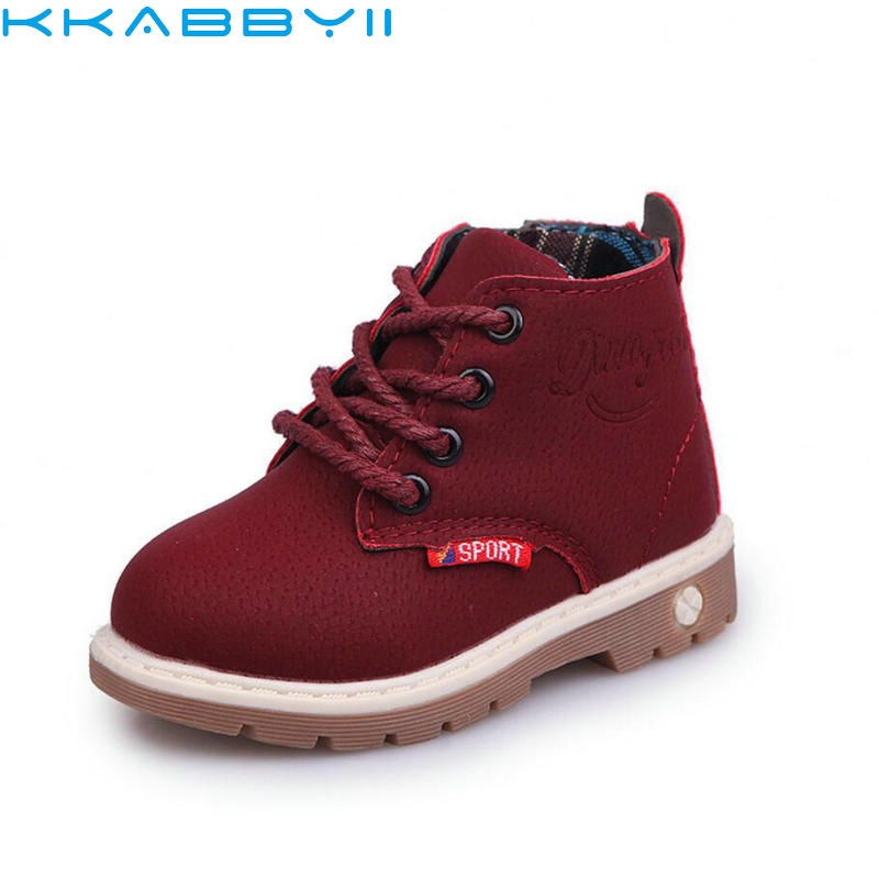 Kids Winter Boots Boys Girls Leather Martin Boots Waterproof Fashion Sport Shoes Brand Sneakers British Style Kids Snow Boots