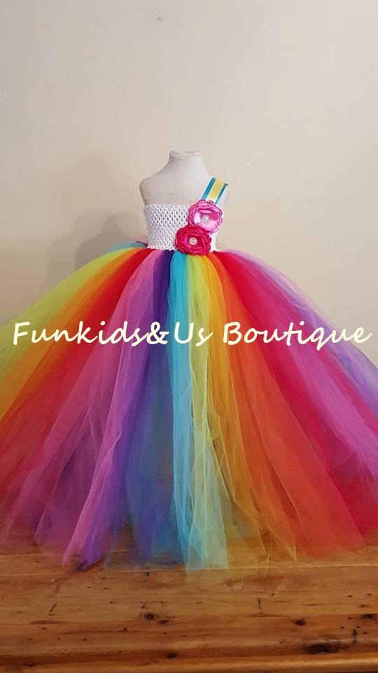 1d2f2a903bbb3 Rainbow Birthday Tutu Dress Flower Colorful Baby Girl Birthday Clothing  Fluffy Kids Rainbow Tutu Outfit Rainbow Ball Gown Dress