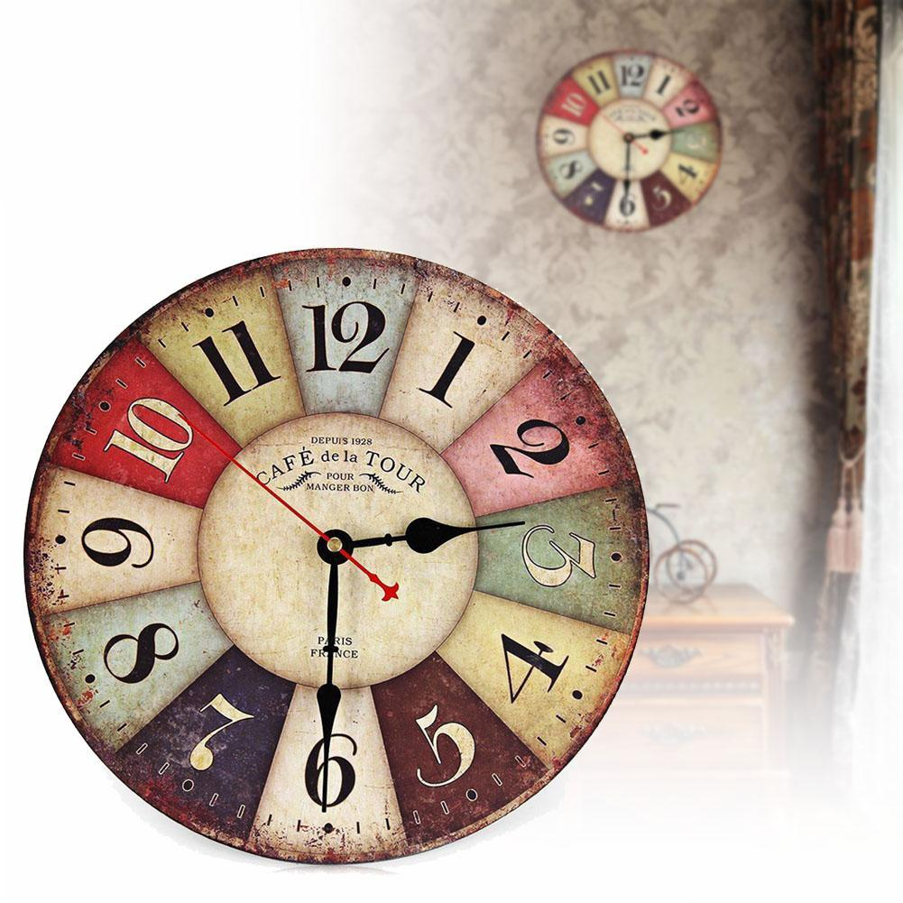 Vintage Wooden Wall Clock Shabby Chic Rustic Retro Kitchen ...
