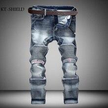 European Famous Brand Jeans Men Casual Fold Holes Denim Biker Slim Stretch Pants 100% Cotton Fashion Ripped Patchwork Mens Jeans