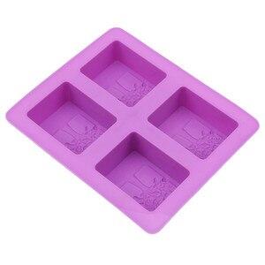 Image 2 - המפלגה קינוח סיליקון עובש צורת עץ 4 חור כיכר סבון אמנות עובש שוקולד עוגת דפוס בעבודת יד כלים