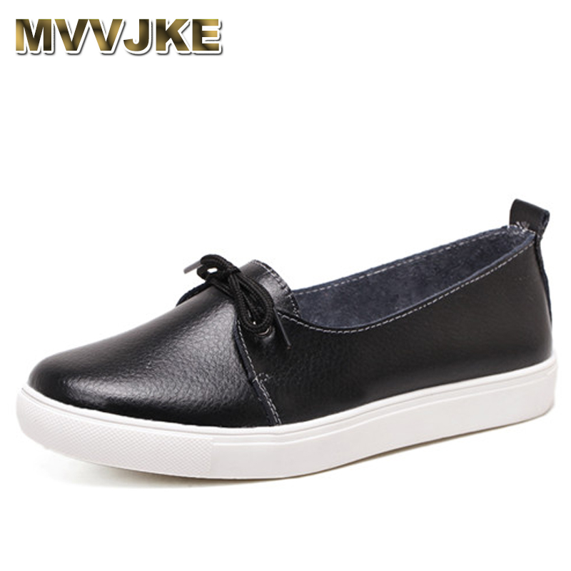 MVVJKE Autumn Lovely Women Shoes Genuine Leather Women Flats Shoes Moccasins Single Solid Ballet Causal Shoes Woman Loafers