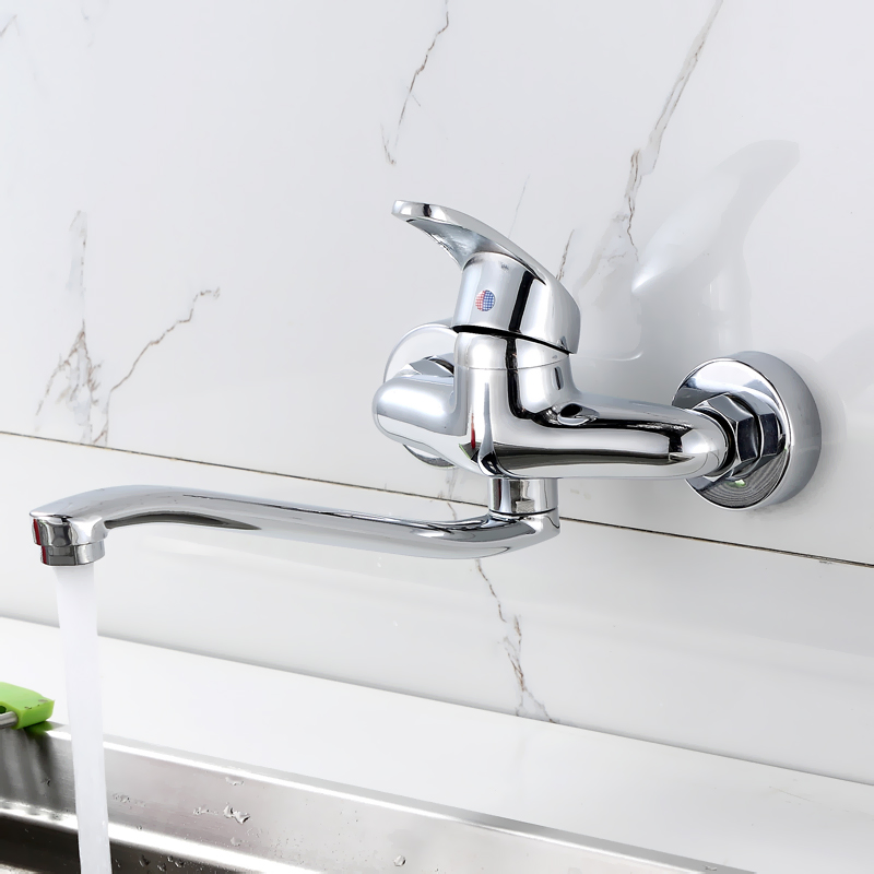 Kitchen Faucets Brasschrome Polished Silver Bathroom Faucet Lengthen Single Handle Double Hole Sink Taps Hot Cold Wall Mounted electroplate kitchen faucets brass polished silver bathroom faucet double handle single hole mixer taps hot cold deck mounted