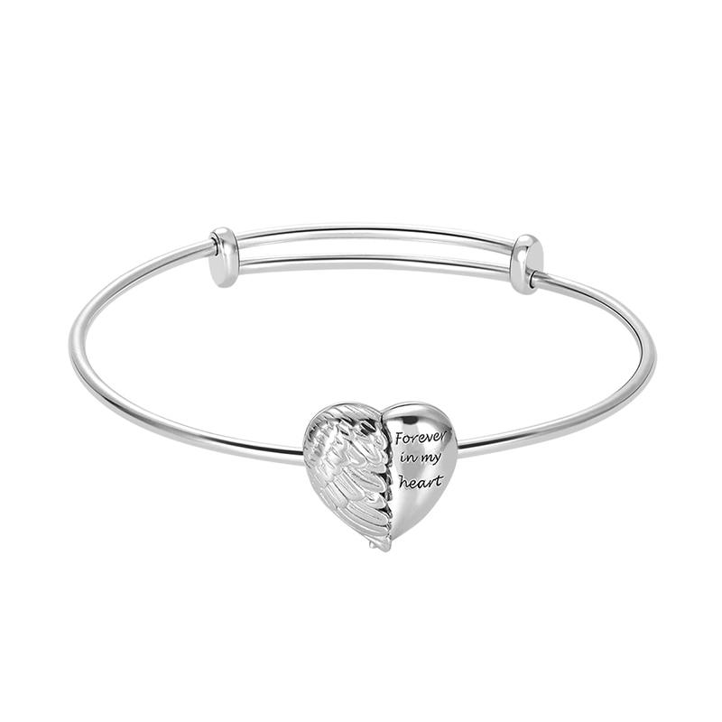 Gros ange ailes coeur Photo médaillon Bracelet réglable en argent Sterling personnalisé Bracelets graver nom Date Bracelet
