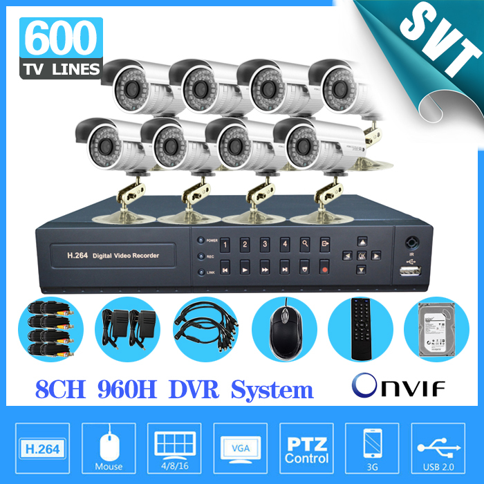 8Ch security video Surveillance CCTV outdoor Camera system 8ch 960h HDMI 1080p dvr nvr hvr camera System kit with hdd 1tb SK-245
