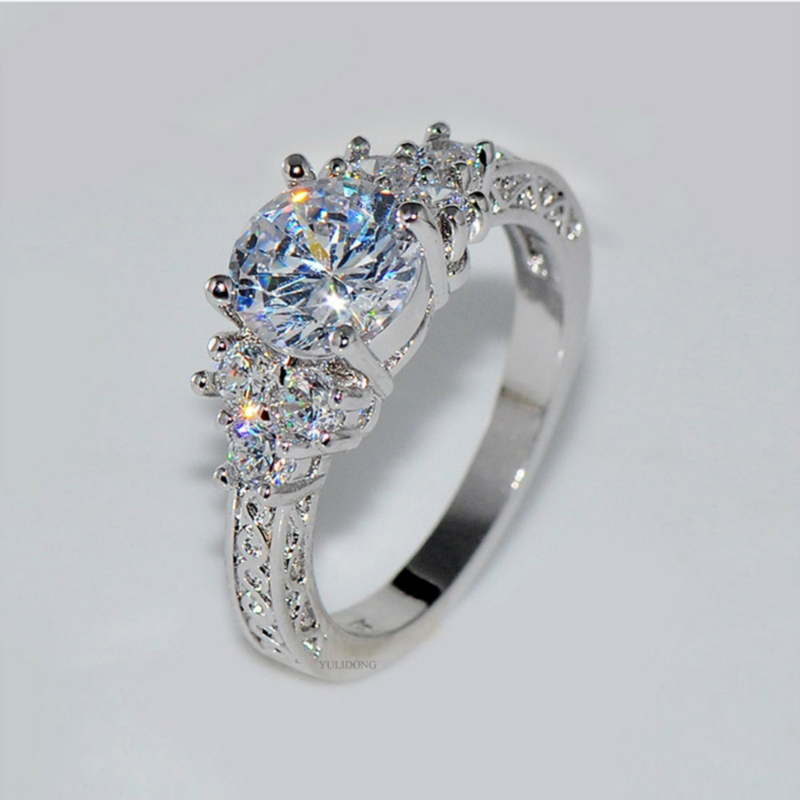 Romantic Lovely Natural Birthstone in Bridal Princess Wedding Engagement Ring Size 6 7 8 9 10