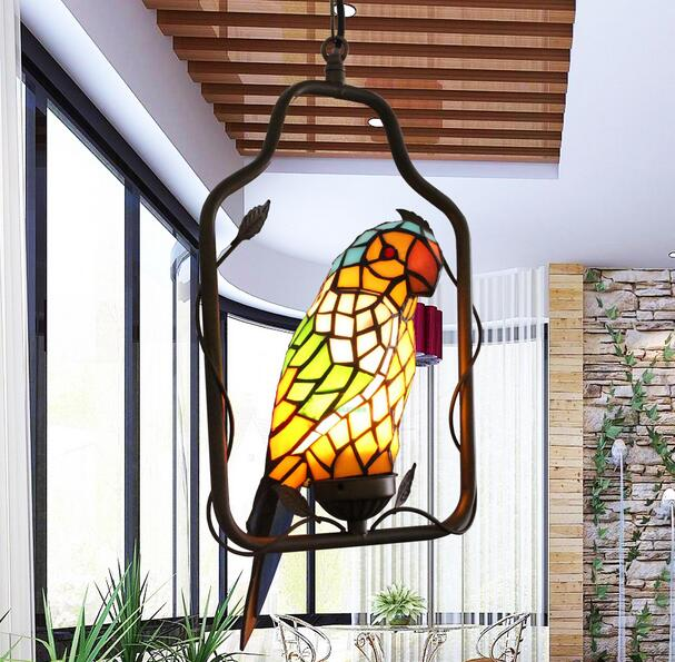 Tiffany parrot corridor lamp hanging creative decorative lamp handmade art Limited special lamp DF42 high grade antique tiffany lamp natural agate jade art decorative hanging lamp bedroom study room