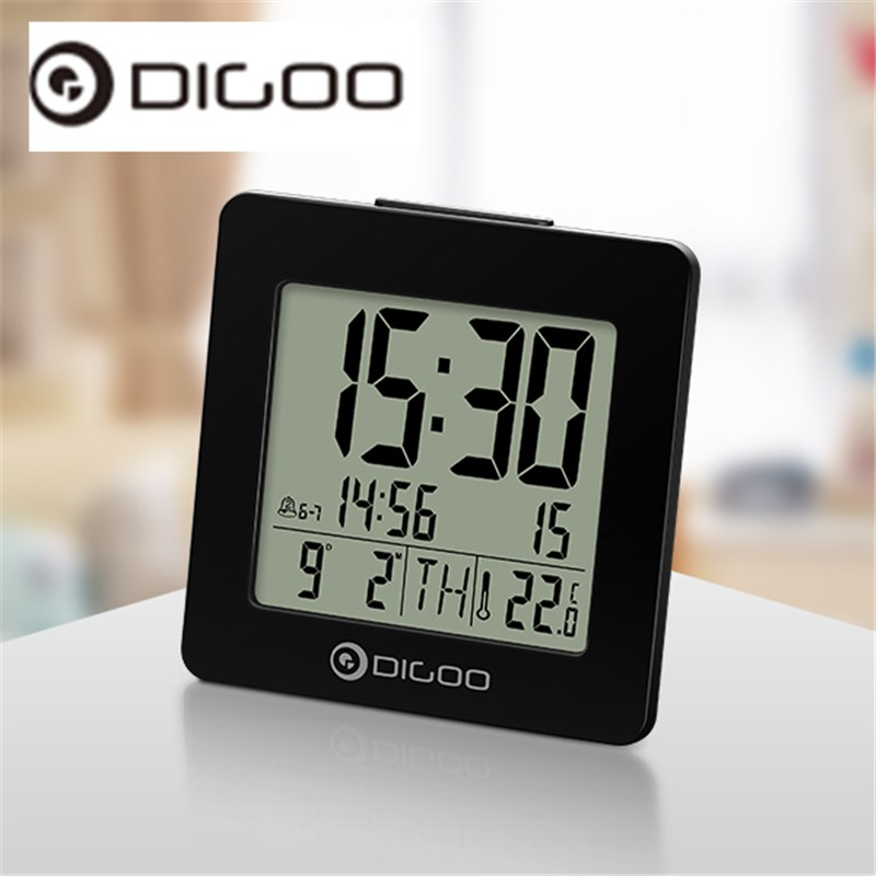 Digoo DG-C2 C2 Home Comfort Indoor Digital Backlit LCD Thermometer Desk Alarm Clock Black Digital Backlight Desk Alarm Clock