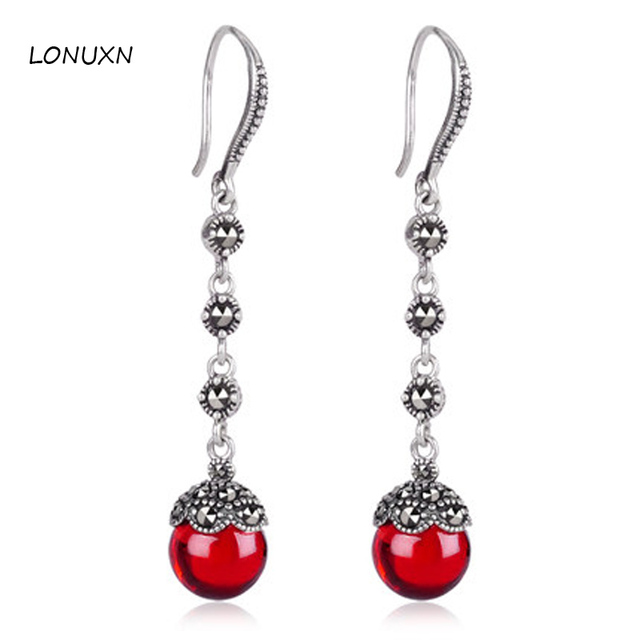 2 Colors Women Jewelry Red Green Garnet Personality Tel Old Silversmith 925 Silver Drop Earrings Retro