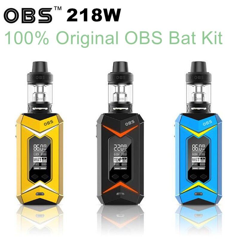 innovative product OBS Bat 218W with Damo TC Kit electronic e cigarettes 7-color LED light Mod 5ml Demo subohm tank Vape ruru15070 to 218