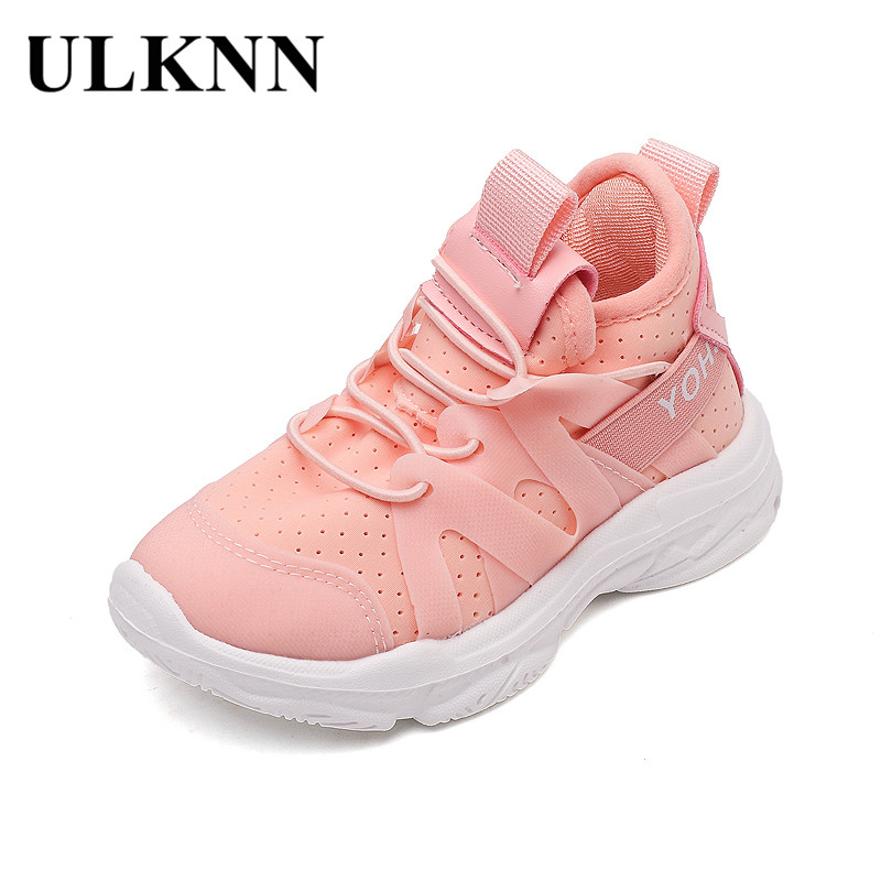 ULKNN Kids Shoes For Girls Soft Running Sneakers Boys Mesh Breathable Sport Shoes Children 2018 Spring School Tennis Sneakers 27