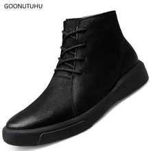 2019 winter men's shoes genuine leather cow ankle snow boot classic black army shoe man footwear tactical military boots for men mens shoes large sizes casual british genuine cow leather men shoes footwear army officer classic shoes men winter fur black