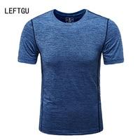 LEFTGU T Shirts Men 2017 Fashion Brand Clothing Breathable Crossfit Men T Shirt Slim Fit Tops