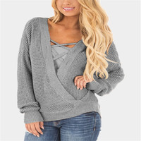 V Neck Cross Knitting Winter Sweater Women Fashion Down Sleeve Pullover Female New 2017 Autumn Winter