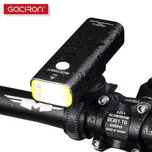 Gaciron 400lm usb recarregável luz dianteira da bicicleta 18650 bateria led mtb guiador lanterna ciclismo estrada farol tocha