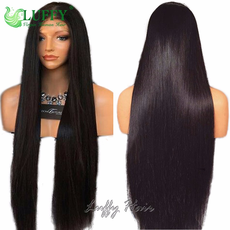 250 density straight lace front wig