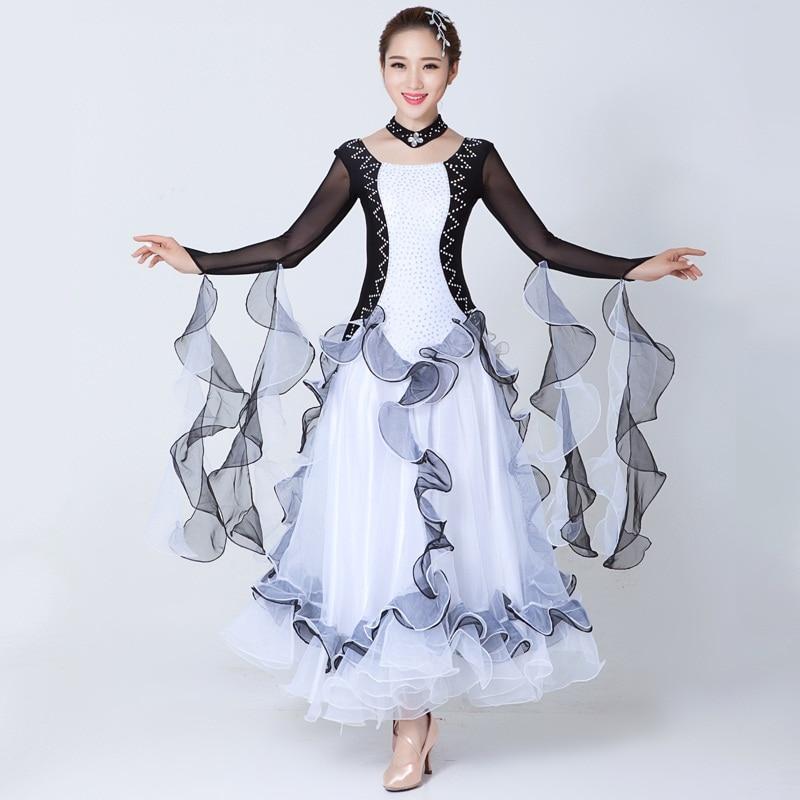 custom Adult sequins black and white drill Standard ballroom Dance Dress for waltz/tango/foxtrot performance competition dress