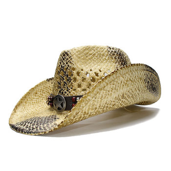 LUCKYLIANJI Retro de los hombres de las mujeres playa de la paja del verano  ala ancha vaquero sombrero vaquera occidental hueco estrella signo banda de  ... 77e63be167f