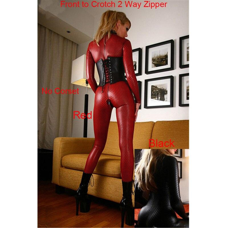 Wholesale Ladies Pvc Leather Snakeskin Long Sleeves Bodysuit Jumpsuit Dancing Clothing  M7155