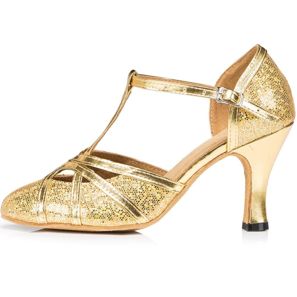 LOSLANDIFEN Women Gold Glitter Dance Shoes Round Toe High Heels T-strap Salsa Latin Dance Pumps Ballroom Shoes free shipping suphini customized salsa dance shoes special lady ballroom latin dance shoes
