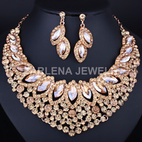 FARLENA Jewelry Luxury Leaves Crystal Glass Necklace Earring set for Women Bridal Wedding Jewelry sets