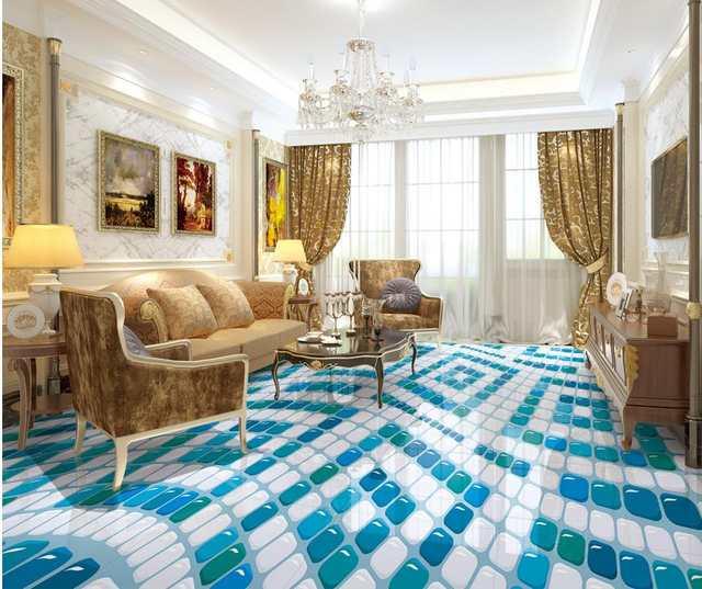 3d Flooring Blue Green And White Geometric Pattern 3d Floor Pvc