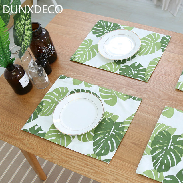 DUNXDECO Table Placemat Plate Cup Holder Mat 2PCS 30x40CM Nordic Classical Green Leaves Natural Cotton Fabric & DUNXDECO Table Placemat Plate Cup Holder Mat 2PCS 30x40CM Nordic ...
