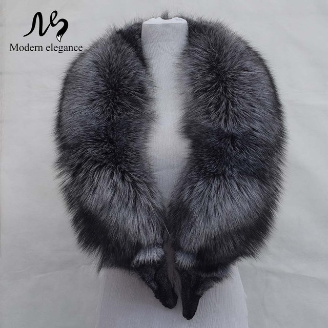 100% Natural Fox Fur Collar Luxury Real Silver Fox Fur Collar Ring Scarf Women Genuine Fox Fur Collars 130cm Female Accessories