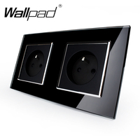 New Arrival CE Wallpad Luxury Black Crystal Glass French Socket 156 86mm Double 16A Plug French