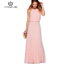 U-SWEAR Pink solid women chiffon dress long summer maxi elegant O-neck sleeveless party beach vestidos de fiesta 2018