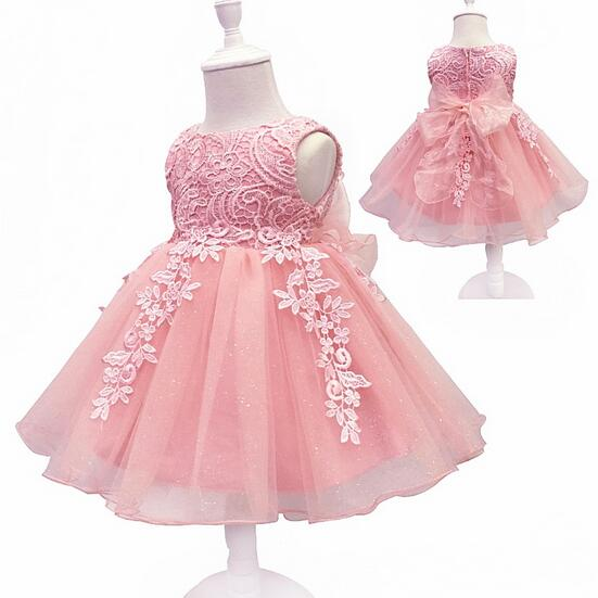 Baby Girls Pageant Formal Dresses 2017 Lace Bow Tiered Gauze Gowns Infant Girls Princess Tutu Dress Kids Birthday Party Dresses baby girls pageant formal dresses 2017 baptism bow lace cute infant girls princess tutu dress kids birthday party dresses pink