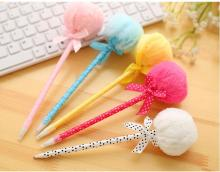 1pcs/lot Fashion Ball Pen With Plush Stationery Ribbon For Office And School Using Or Gifts
