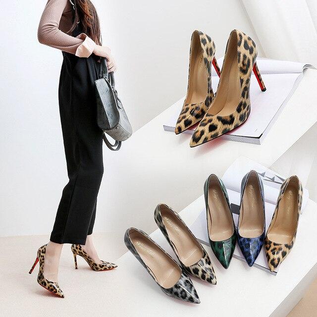 Модные женские туфли-лодочки искусственная кожа под леопарда остроносые туфли на высоком тонком каблуке женские вечерние свадебные туфли Гладиатор клуб пикантная женская обувь