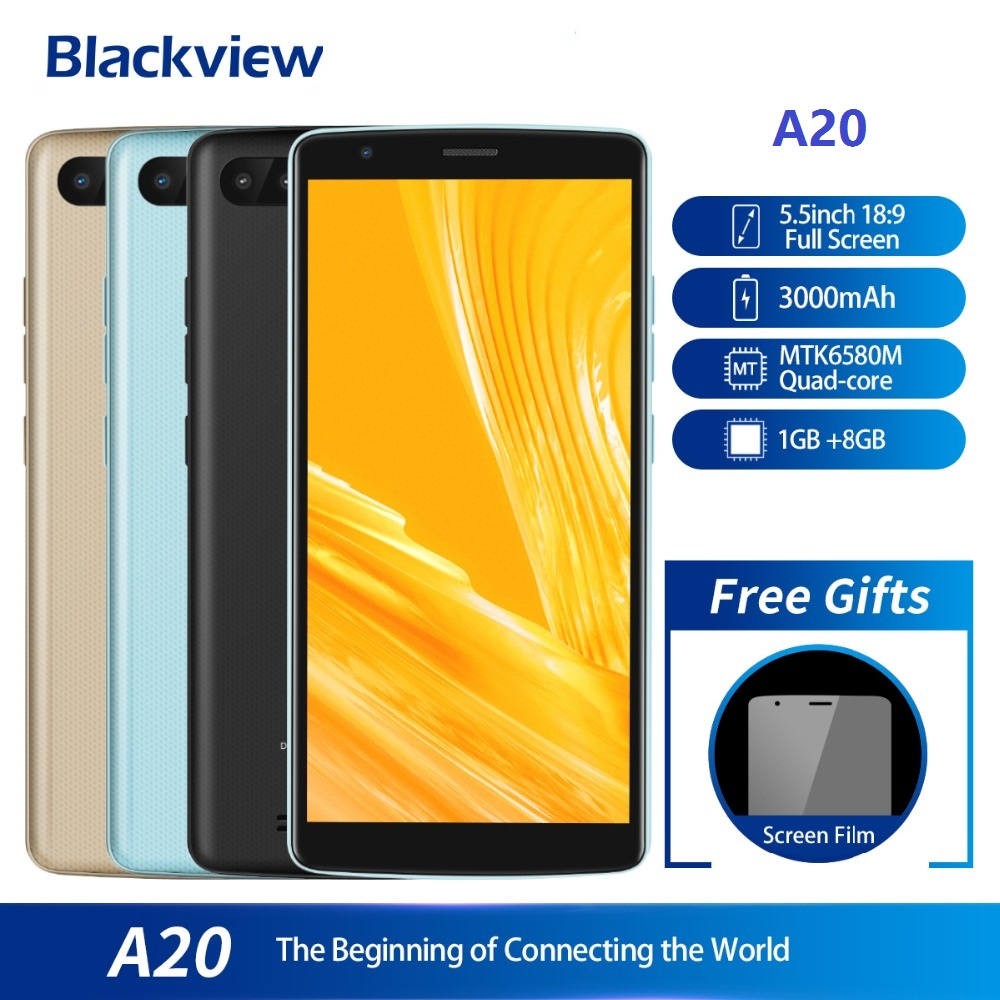 Blackview A20 Smartphone 5.518:9 Screen Android Go Os Mtk6580m Quad Core 1gb Ram 8gb Rom Dual Back Cameras 3000mah Gps 3g PhoneBlackview A20 Smartphone 5.518:9 Screen Android Go Os Mtk6580m Quad Core 1gb Ram 8gb Rom Dual Back Cameras 3000mah Gps 3g Phone