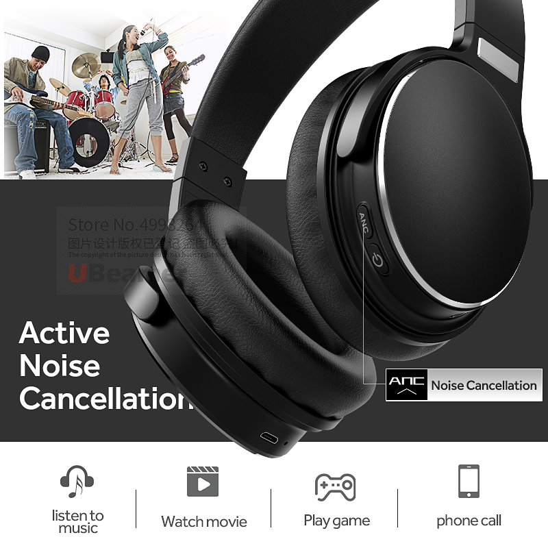 Ubeamer H1 Bluetooth v5.0 headphones, Active Noise Cancellation Waterproof large capacity battery wireless Headset for musicUbeamer H1 Bluetooth v5.0 headphones, Active Noise Cancellation Waterproof large capacity battery wireless Headset for music