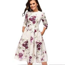 OLN 2019 moda kobiety Plus rozmiar elegancka Sukienka z długim rękawem, dekolt w kwiaty, sukienki damskie Sukienka Femme Vintage sukienki Vestido 1