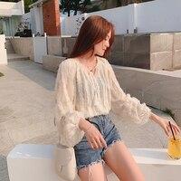 Ladies White Lace Blouse Fashion O neck Tops Blouse Summer Hot Boho Tunic Tops Puff 2019 Women Long Sleeve Shirts